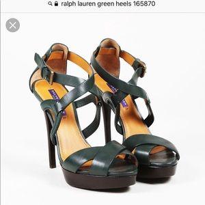 b02102e591f Ralph Lauren green straps heels
